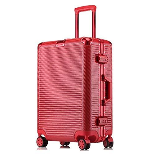 SPRINGYOU 高容量クリエイティブローリング荷物スピナースーツケースホイール 20 インチ黒キャビントロリーアルミフレーム旅行バッグ 24\ レッド B07QWWXW2T