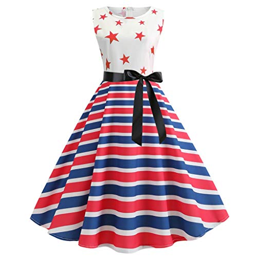 YOCheerful Women Dress Star Stripe Print Evening Party Prom Swing Sleeve Hepburn Dress July 4th Gowns(X-White, S)