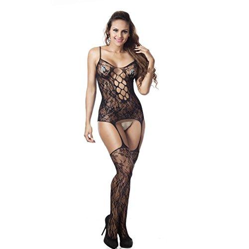 Damen Unterwäsche Internet Fishnet Sheer Open Crotch Körper Strumpf Bodysuit Dessous Schwarz Nn42wf