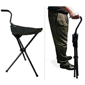 Portable Walking Chair (Cane / Stool) from The Stadium Chair Company,Black