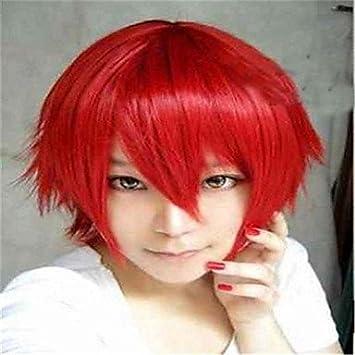 OOFAY JF® las nueva peluca de color de dibujos animados cara roja cortas pelucas del
