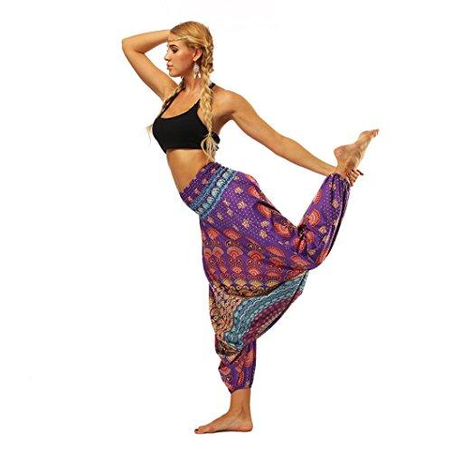 GoodLock Women Casual Yoga Boho Pants Summer Loose Yoga Trousers Baggy Boho Aladdin Jumpsuit Harem Pants (F) from GoodLock