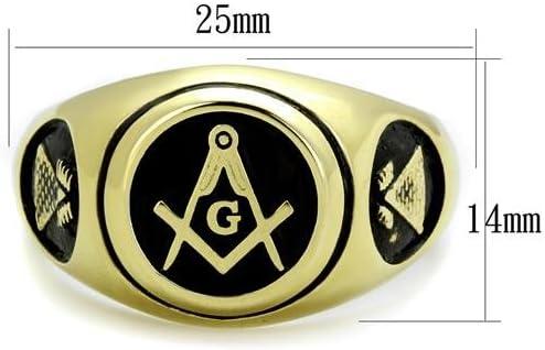 Nationalonlinediscounts Stainless Steel Masonic Free Mason Lodge Pyramid Sides Gold Electroplated Round Black Ring Sizes 8,9,10,11,12 /& 13