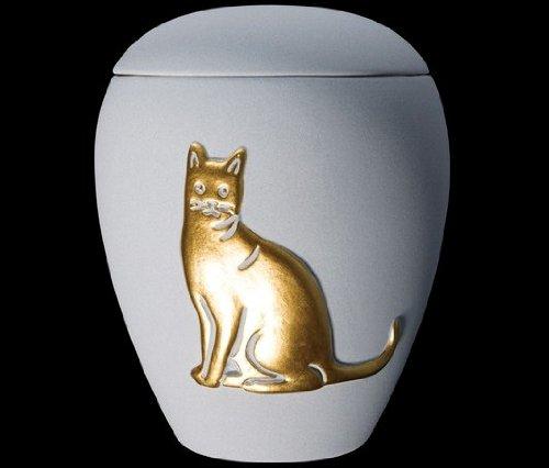 Kronos - Urne cinéraire couleur azure en céramique à motif de chat - Dim : Cm 8, 5 x h Cm 11, 5; Vol. lt 0, 5