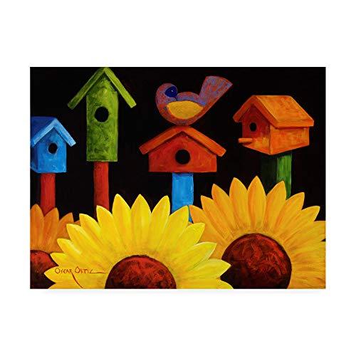 Trademark Fine Art Midnight Garden Birdhouse by Oscar Ortiz, ()