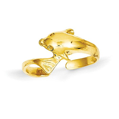14k Yellow Gold Dolphin Toe Ring (6mm Width) - Size - Gold 14k Dolphin Toe Ring