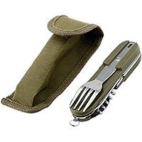 Army Green Multifunction Folding Stainless Steel Camping Picnic Cutlery Knife Fork Spoon Bottle Opener Flatware Tableware Travel Kit