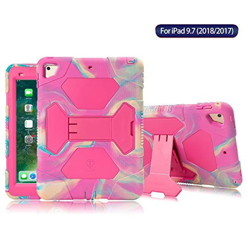 (ACEGUARDER Kids Case for iPad 9.7 2018/2017 Case Full Body Protective Silicone Cover Adjustable Kickstand for Apple iPad 9.7 5th / 6th Generation, iPad Air 2, iPad Pro 9.7(Camo/Pink))