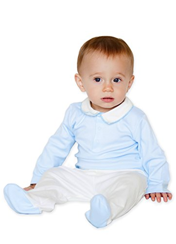 Free Layettes Baby Crochet (Baby Boys' 100% Pima Cotton - Blue White Crochet Collar Bodysuit & Pant Set 0-3 Month)