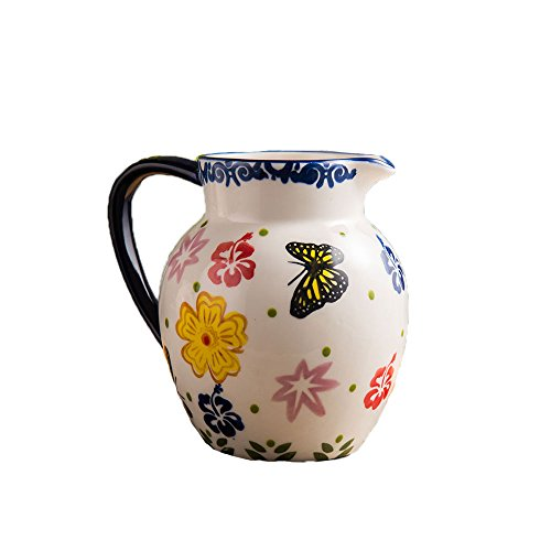 Vintage Country Style Elegant Embossed Handcrafted Flower Butter Pattern Ceramic Coffee Milk Creamer Serving Sauce Porcelain Pitcher Cup Jug Vase with Handle for Kitchen Home Decor Gift 37oz(Red Blue)