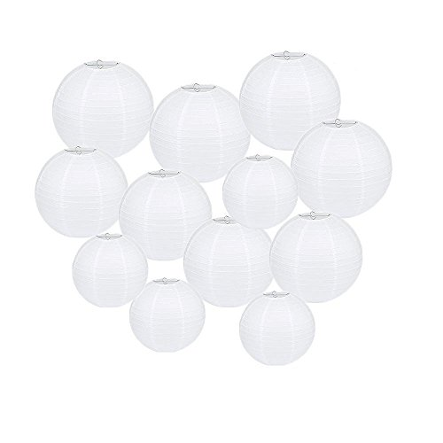 "Beelittle 12 Pack 8""/10""/12"" Round White Paper Lanterns Assorted Size for Halloween Christmas Birthday Party Wedding Decorations (12 Paper Lantern) (Diy Halloween Lanterns)"