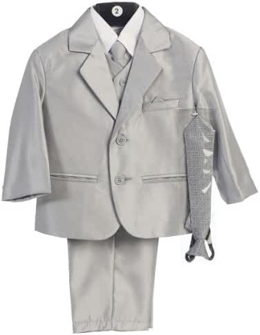 Boy's 2-Button Metallic Suit in Pewter or Silver (Infant-Tween) Vest 2 Ties