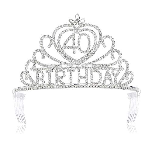 DcZeRong Queen 40 Birthday Crown Rhinestone Crystal Tiara Women 40th Birthday Princess Tiara -