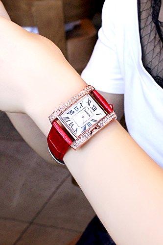 2018 Watch Women Ladies Square Diamond dial Watch Belt Fashion Watch dial Roman (red