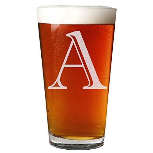 Etched Monogram 16oz Pint Glass for Beer or Soda (Letter A)