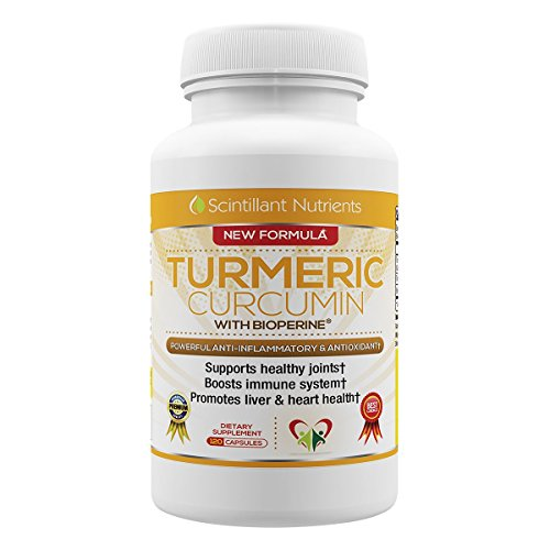 Turmeric Curcumin by Scintilant Nutrients with Bioperine Black Pepper Extract and Curcuminoids 120 Capsules Vegetarian Vegan Tumeric Herbal Joint and Pain Relief Supplement MADE IN THE USA
