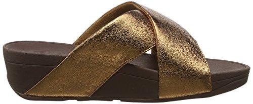 Donna Sandali Fitflop Aperta Punta Metal bronze Marrone Lulu Molten Slide 012 wIIqnZU40