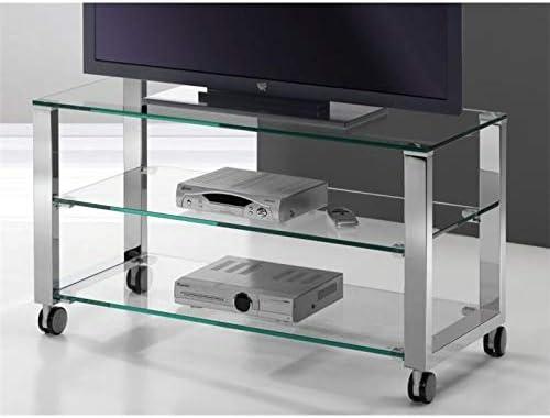 Mesa de Televisión Cristal con Patas cromadas Aremi 95 cm: Amazon ...