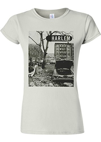 容赦ない不良有効なHarlem Backstreet NY Gangster Novelty White Women T Shirt Top-L