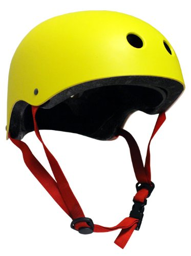 Krown Yellow Shell with Red Strap Skateboard Helmet, One Size