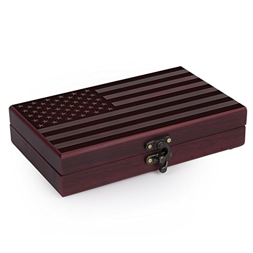 Playing Card Holder with 2 Deck and 5 Roll Dice Case - Poker Playing Cards and 5 Casino Dice Set | American Flag Engraved on the Rosewood Box - Las Vegas Bachelor Party Gifts for Gambler Men & Women