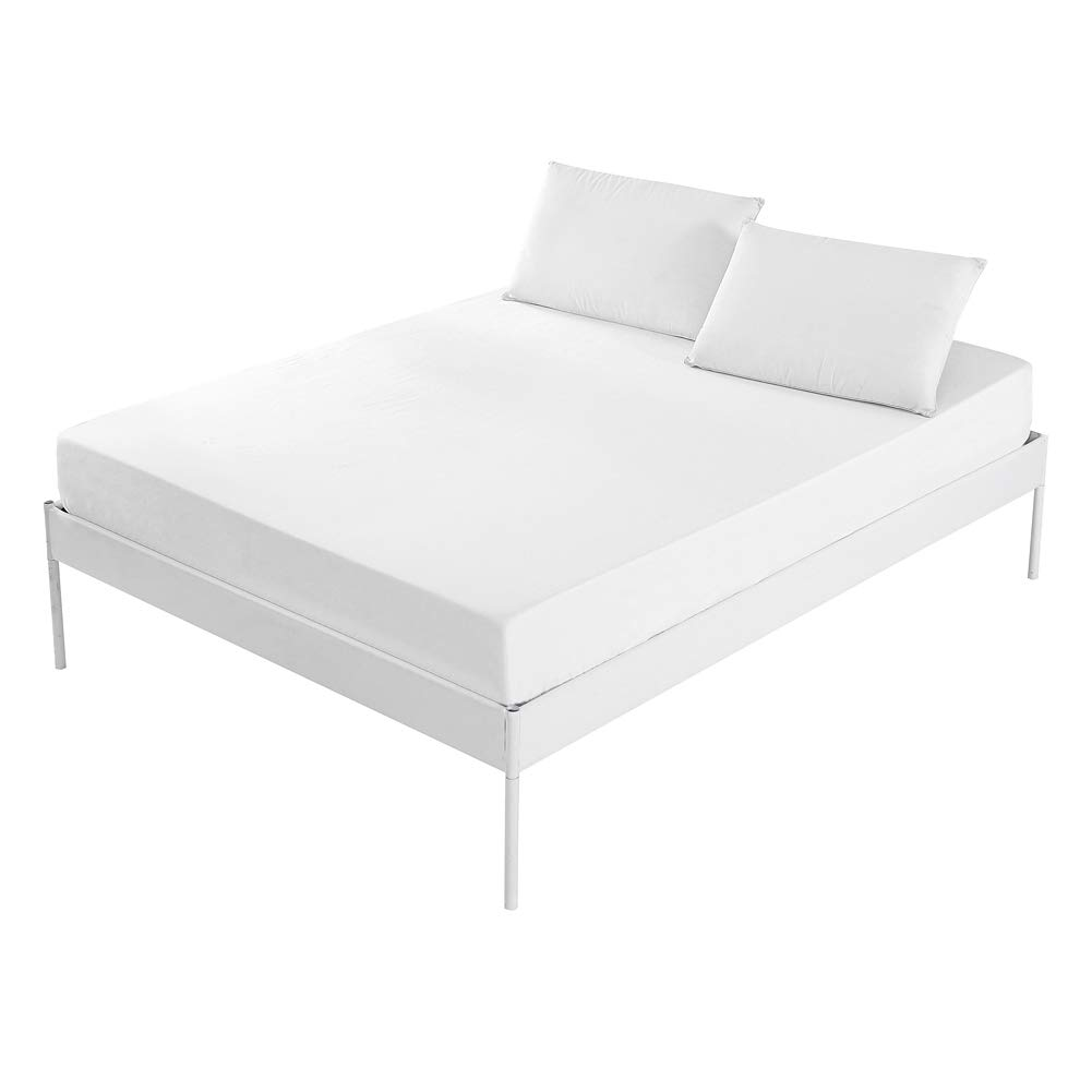 Homaxy 100/% Natural Cotton 400 Thread Count Premium Hypoallergenic Fitted Sheet Only White Queen Size for Snug Sleep Extra Deep Pocket Wrinkle Free Mattress Protectors