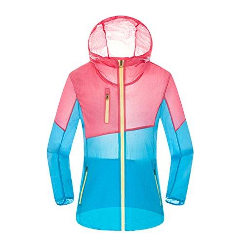Zhhlinyuan Moda Windbreaker Genuine Skin Clothing Waterproof Coat for Outdoor Pink