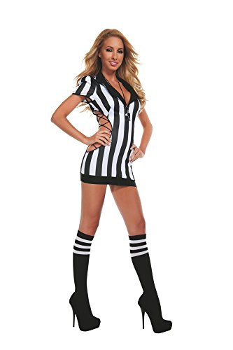 Starline Women's Sexy Cut-Out Referee Costume Set with Whistle, Black/White, Small