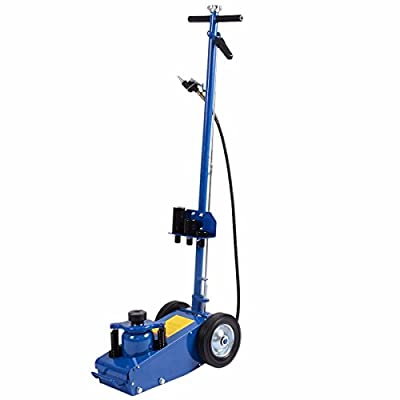 Blue 22 Ton Air Hydraulic Floor Jack Adjustable Angle Lifting Tool w/ 4 Saddle Extensions