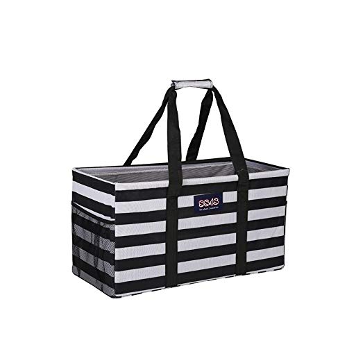 Tote Stripe White - All Purpose Utility Tote/Utility tote/Large tote/Beach Bag/Reusable Shopping Bags (Horizontal Black/White Stripes-H-003-003, 23