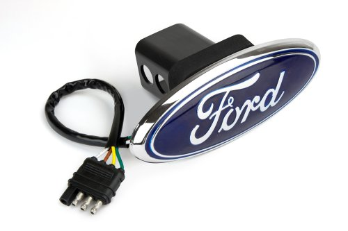 (Reese Towpower 86065 Licensed LED Hitch Light Cover with Ford Logo, Chrome Finish)