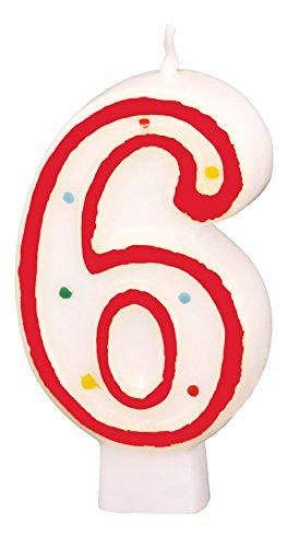 6 números de la vela de cumpleaños de colour rojo: Amazon.es ...