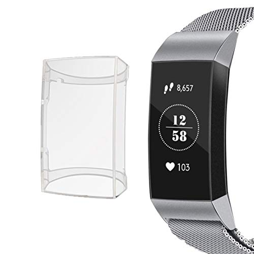 Screen Protector for Fitbit Charge 3/Charge 3 SE, Soft TPU Protective Cover Scratch-Resistant Transparent Frame, case for Fitbit Charge 3/Charge 3 SE Accessory Sports Watch. (Clear 1Pcs)