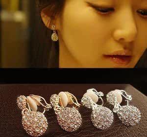 Chokushop Elegant Full shining droplets water drop non pierced earrings painless ear clip