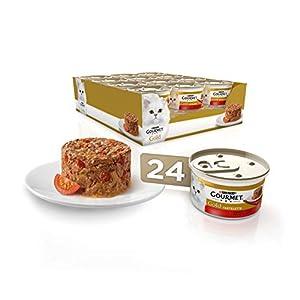 Purina Gourmet Gold Tartalette – Comida para Gatos Adultos con Buey y Tomate, 85 g, Pack de 24 Unidades