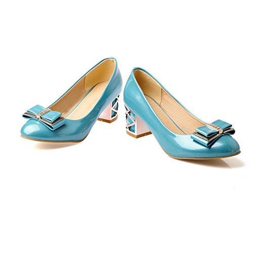 Balamasa Dames Stevige Hielen Gesponnen Goud Strik Glas Diamant Geïmiteerd Leer Pumps-schoenen Blauw