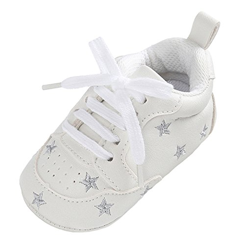 Annnowl Baby Sneakers Infants First Walkers Soft Sole Crib Shoes (12-18 Months, White Silver)