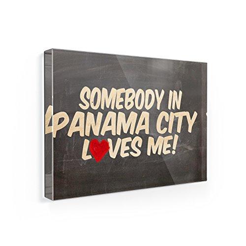 Fridge Magnet Somebody in Panama City Loves me, Republic of Panama - NEONBLOND