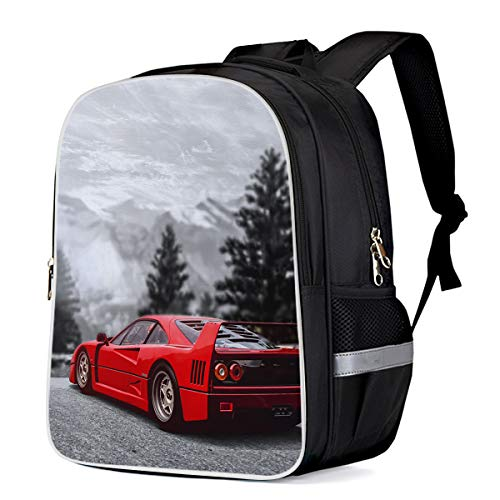 School Bags for Boys, Red Sports Car Pine Tree Landscape Teens Backpack Lightweight Students Bookbag 16