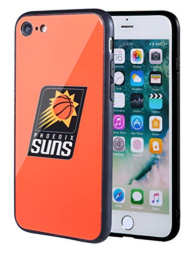 (The Mass iPhone 8 case, iPhone 7 case, NBA Team Logo on Tempered Glass Back Cover and Soft TPU Frame for Apple iPhone 8/7 (Phoenix Suns, 4.7 inch))