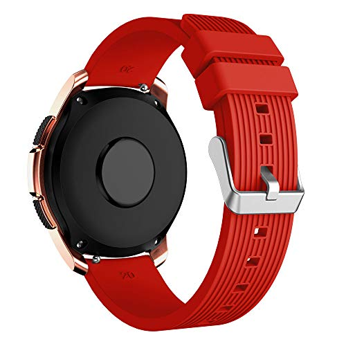 Insaneness Pure Colour Stripe Soft Silicone Watch Band Band Strap for Samsung Galaxy Watch (Red, 42mm) by Insaneness (Image #2)