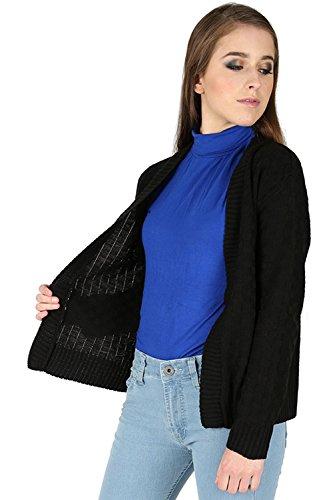 Oops Outlet Femmes Damier Tricot Maille Manches Longues Ouvert Front Cardigan Boléro Cache Épaules Grande Taille UK 8-22 - Noir, S/M (EU 36/38)