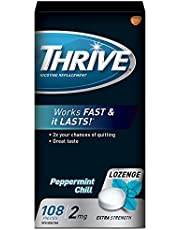 Thrive Nicotine Lozenges, Quit Smoking Aids, Regular Strength to Satisfy Cigarette Craving, Peppermint Chill, 2mg, Value Pack 108 Pieces
