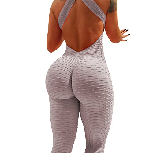 Jumpsuit Womens Package - W. DRIZZLE Women's High Waist Ruched Butt Lift Yoga Pants Jumpsuit Textured Stretchy Skinny Tummy Control Workout Gym Leggings (Grey, S)