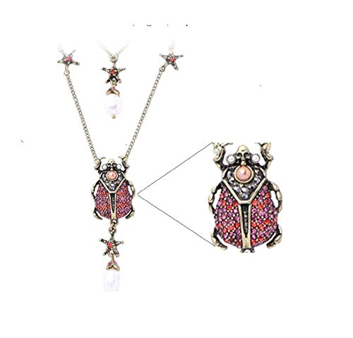 (NORTHSTAR PEARLS AND JEWELRY: Beetle Insect Fashion Necklace for Adults Vintage Gold-Tone, Victorian Style. A Skull and Stars Necklace. (Crystal Red Color))
