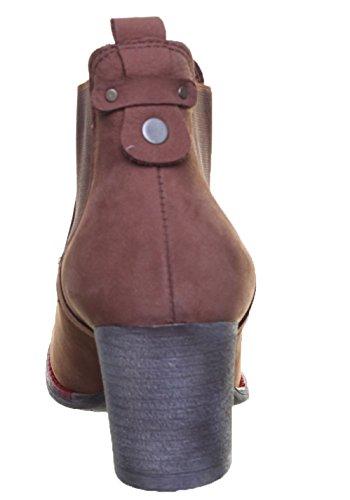 Justin Reece Women Slip on Chelsea Soft Leather Brown cKGB94Q