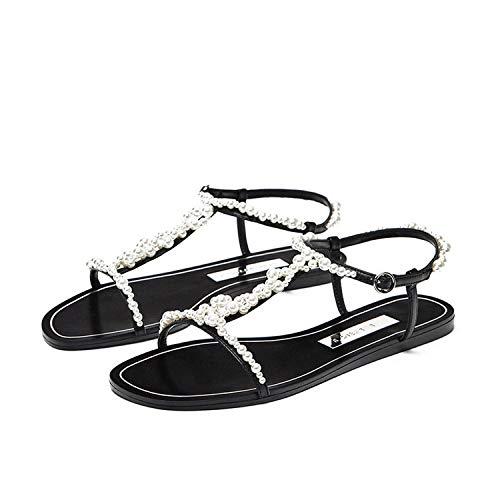 MoMo Summer Luxury Pearl Women Sandals Buckle Gladiator Sandals Women Open Toe Flat Sandals Women Fashion Soft Shoes Woman,Black Sandals,6