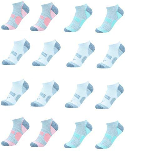 (Puma Ladies 8-pair No Show Athletic Socks for Women (Sock Size 9-11) Shoe Size 5-9.5 (WhiteGrey,Peach,Green))