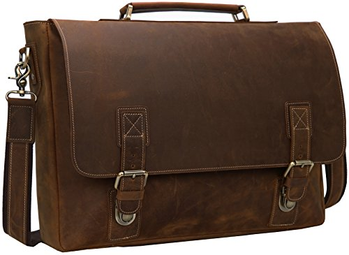 Iswee Crazy Horse Leather Men's Messenger Bag Vintage Briefcase Fit 16