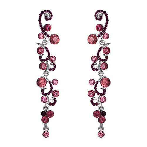 EVER FAITH Bridal Flower Wave Austrian Crystal Dangle Earrings Silver-Tone - Purple
